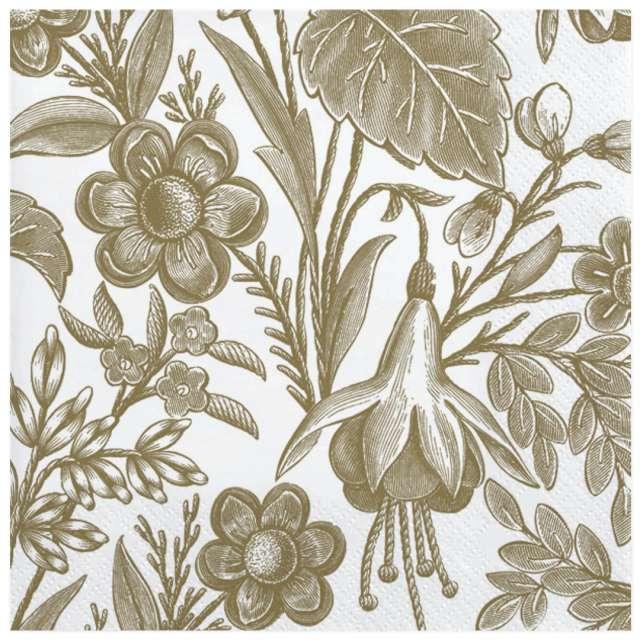 Serwetki Ilustrowane złote kwiaty Maki 33 cm 20 szt