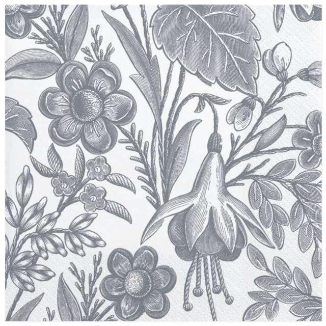 """Serwetki """"Ilustrowane srebrne kwiaty"""", Maki, 33 cm, 20 szt"""