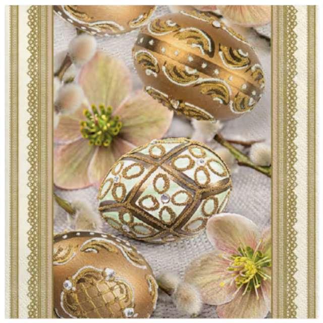 Serwetki Wielkanoc - Złote zdobione jajka Maki 33 cm 20 szt