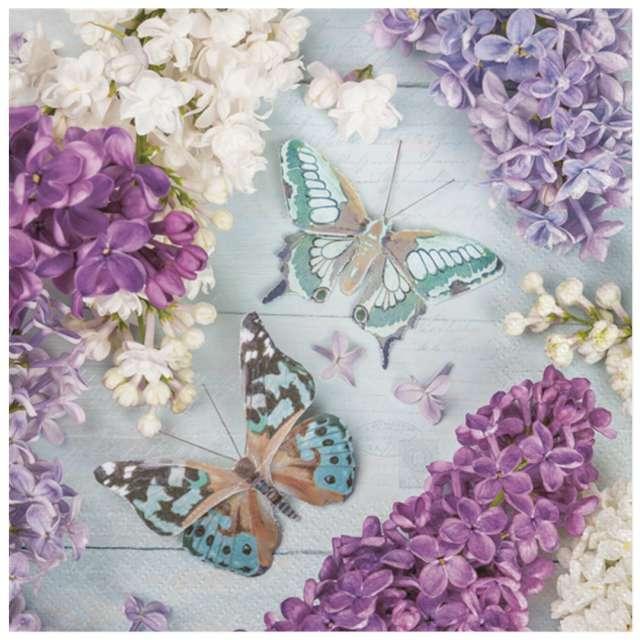 Serwetki Motyle wśród Lilii Maki 33 cm 20 szt