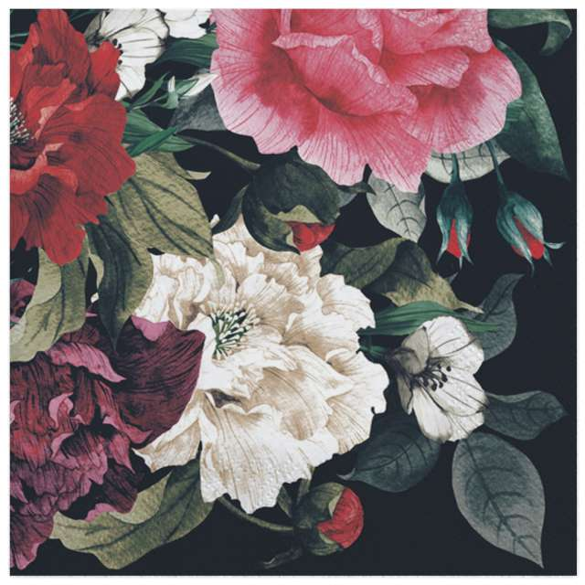 Serwetki Kwiaty w stylu barokowym Maki 33 cm 20 szt
