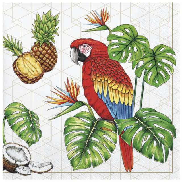 """Serwetki """"Tropikalny motyw z papugą"""", Maki, 33 cm, 20 szt"""