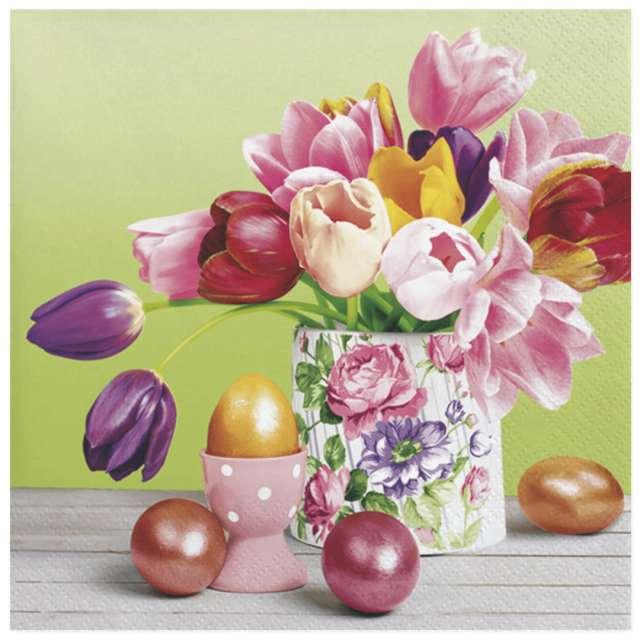 Serwetki Wielkanoc - Bukiet tulipanów i jajka Maki 33 cm 20 szt