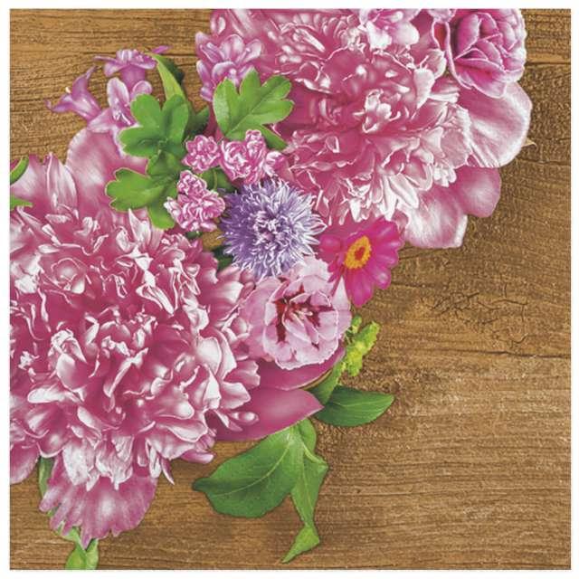Serwetki Różowy wianek z piwoni Maki 33 cm 20 szt
