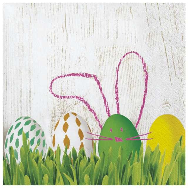 Serwetki Wielkanoc - Pisanka z uszami zajączka Maki 33 cm 20 szt