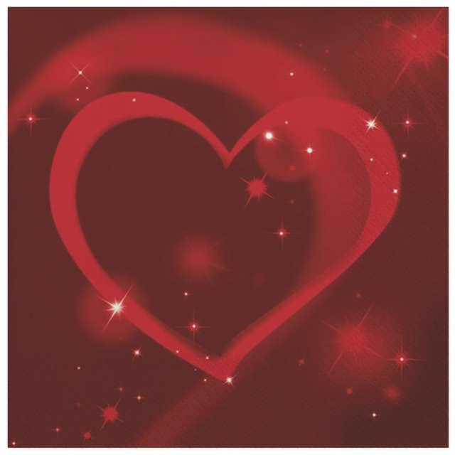 """Serwetki """"Czerwone neonowe serce"""", Maki, 33 cm, 20 szt"""