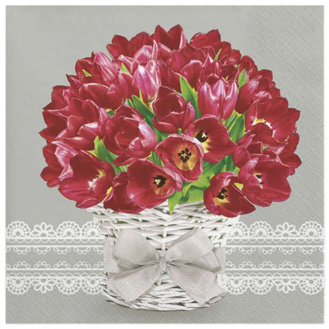 Serwetki Czerwone tulipany w wiklinie Maki 33 cm 20 szt