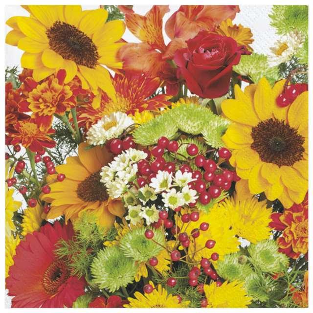 Serwetki Bukiet jesiennych kwiatów Maki 33 cm 20 szt