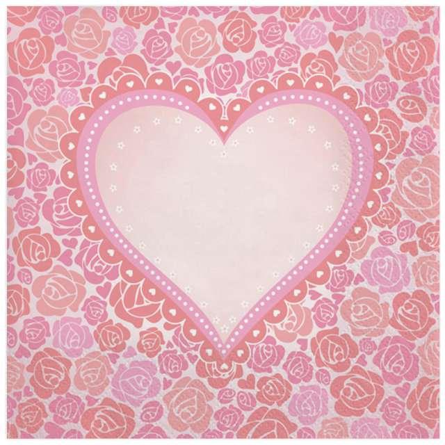 """Serwetki """"Serce w różach"""", Maki, 33 cm, 20 szt"""