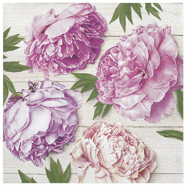 """Serwetki """"Różowe piwonie na tle drewna"""", Maki, 33 cm, 20 szt"""