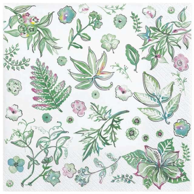 Serwetki Malowane zielone liście 33 cm 20 szt