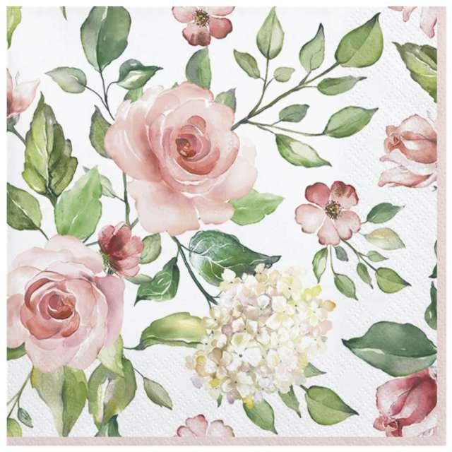 Serwetki Akwarelowe róże i hortensje Maki 33cm 20szt