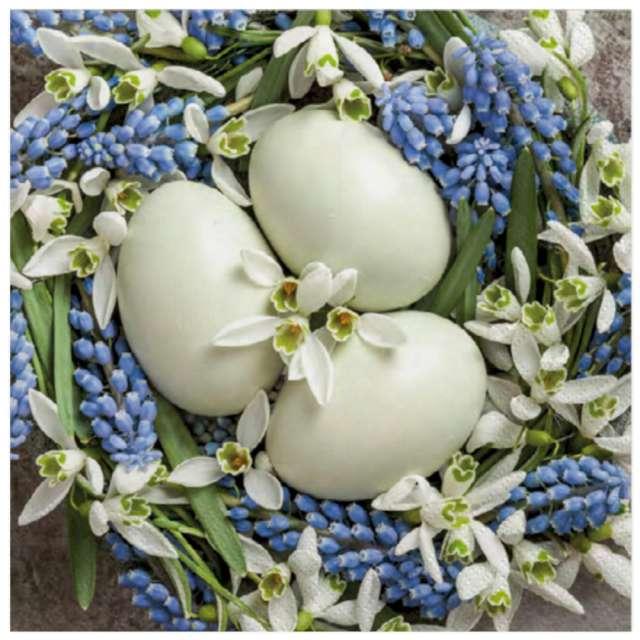 Serwetki Wielkanoc - Białe jajka i przebiśniegi Maki 33 cm 20 szt