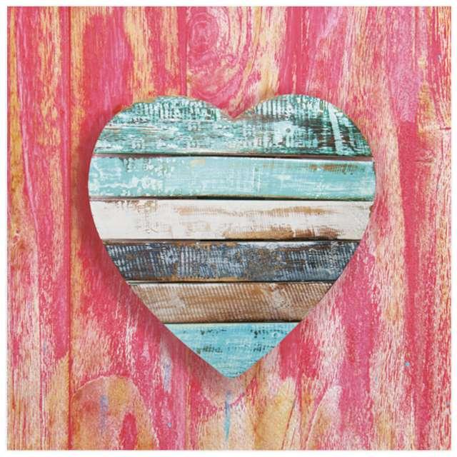 Serwetki Drewniane serce Maki 33 cm 20 szt