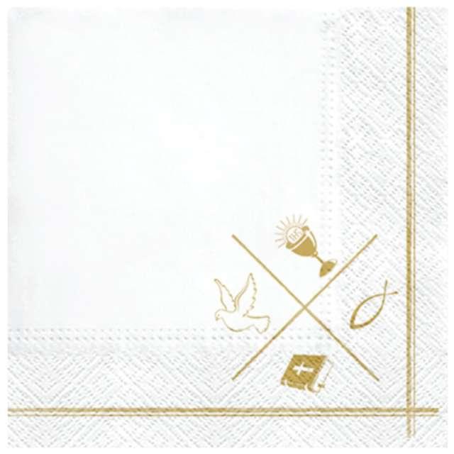 """Serwetki """"Komunia Ramka z symbolami"""", PAW, 33 cm, 20 szt."""