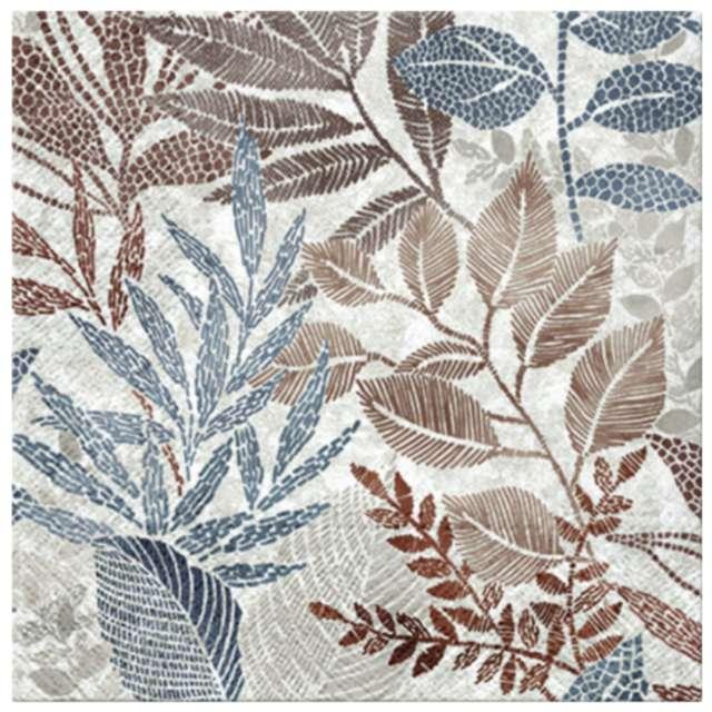 """Serwetki """"Wschodzące liście niebieskie"""", PAW, 33 cm, 20 szt."""