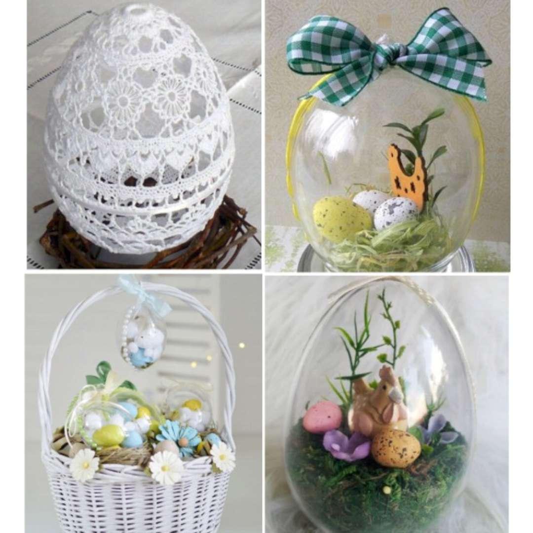 Jajko Do dekoracji stojące akrylowe 9 cm ALIGA 5 szt.