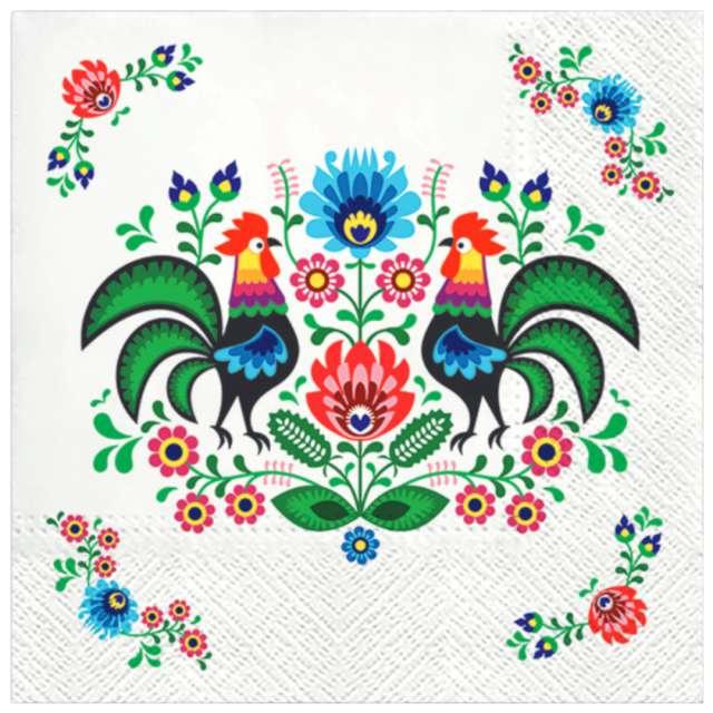 """Serwetki """"Ludowe - kolorowe koguty"""", PAW, 33 cm, 20 szt."""