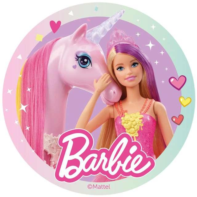 """Dekoracja tortu - opłatek """"Barbie i jednorożec"""", 20 cm, Dekora"""