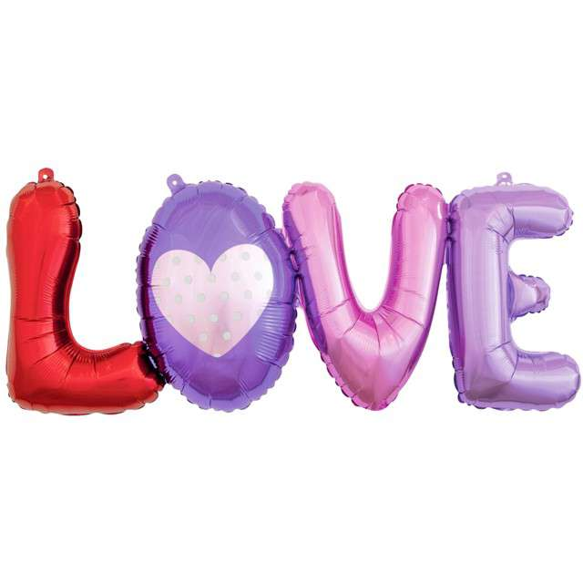 """Balon foliowy """"LOVE"""", różowo-fioletowy, GoDan, 29"""" SHP"""