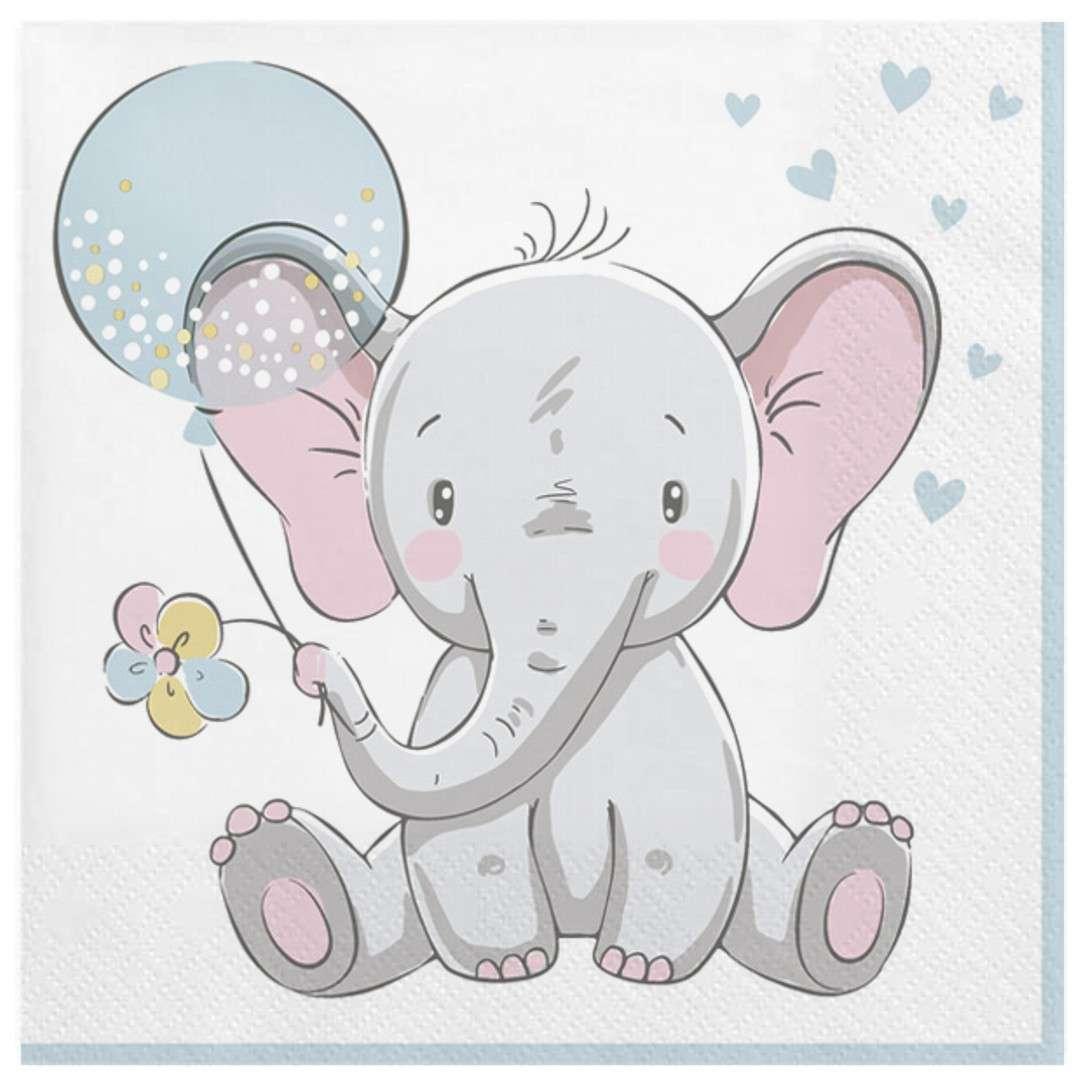 """Serwetki """"Mały słonik z niebieskim balonikiem"""", Maki, 33 cm, 20 szt"""