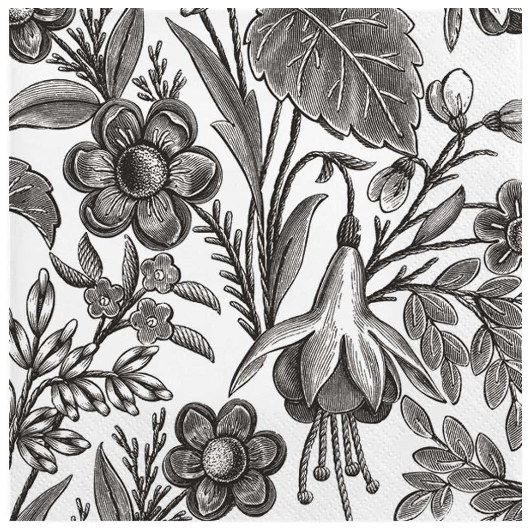 """Serwetki """"Ilustrowane czarne kwiaty"""", Maki, 33 cm, 20 szt"""