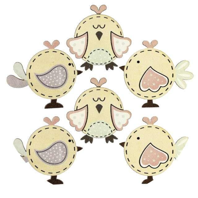 """Ozdoba drewniana """"Wielkanoc - kurczaki"""", Titanum, 6 szt."""
