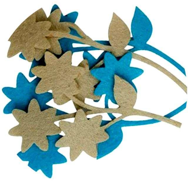 """Ozdoba filcowa """"Kwiatki niebieskie"""", Titanum, 4 szt."""