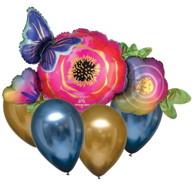 """Balon foliowy """"Motyl w kwiatach"""", Amscan, zestaw SHP"""