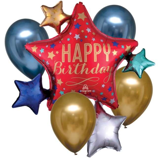 "Balon foliowy ""Happy Birthday"", Amscan, zestaw SHP"