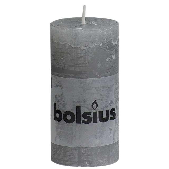 "Świeca pieńkowa ""Rustic"", szara jasna, Bolsius, 100/50 mm"