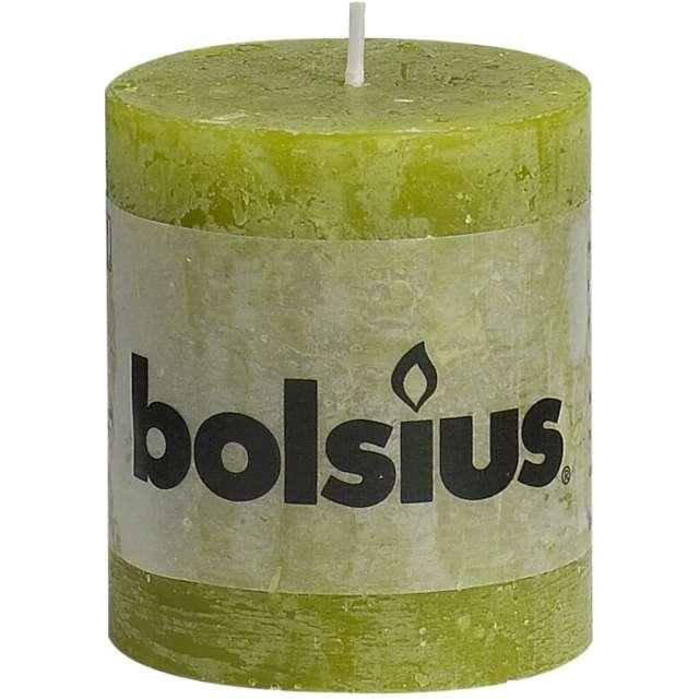 """Świeca pieńkowa """"Rustic"""", zielona trzcinowa, Bolsius, 80/68 mm"""