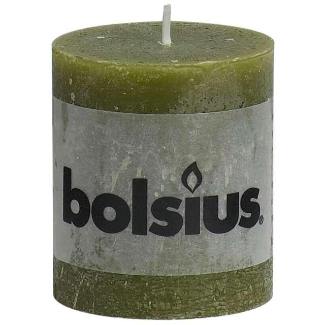 "Świeca pieńkowa ""Rustic"", oliwkowa, Bolsius, 80/68 mm"