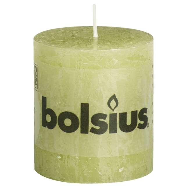 "Świeca pieńkowa ""Rustic"", zielony pastel, Bolsius, 80/68 mm"