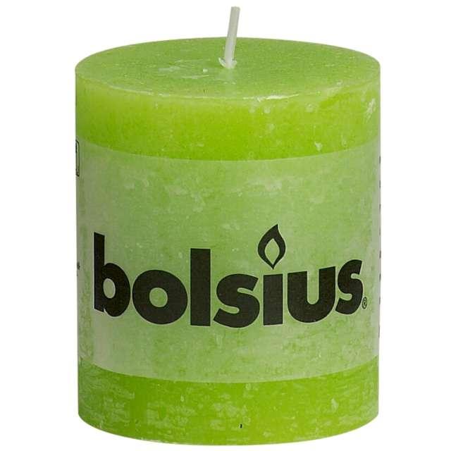 "Świeca pieńkowa ""Rustic"", zielona jasna, Bolsius, 80/68 mm"