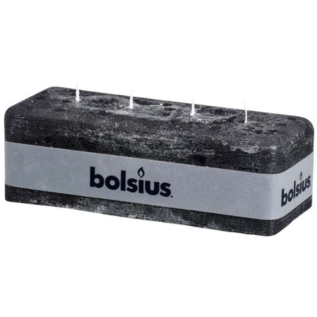 "Świeca ""Rustic - Blok 4 knoty"", antracyt, Bolsius, 80/250 mm"