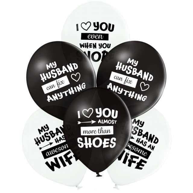 "Balony ""Best Husband Ever"", biało-czarne, Belbal, 12"", 6 szt"