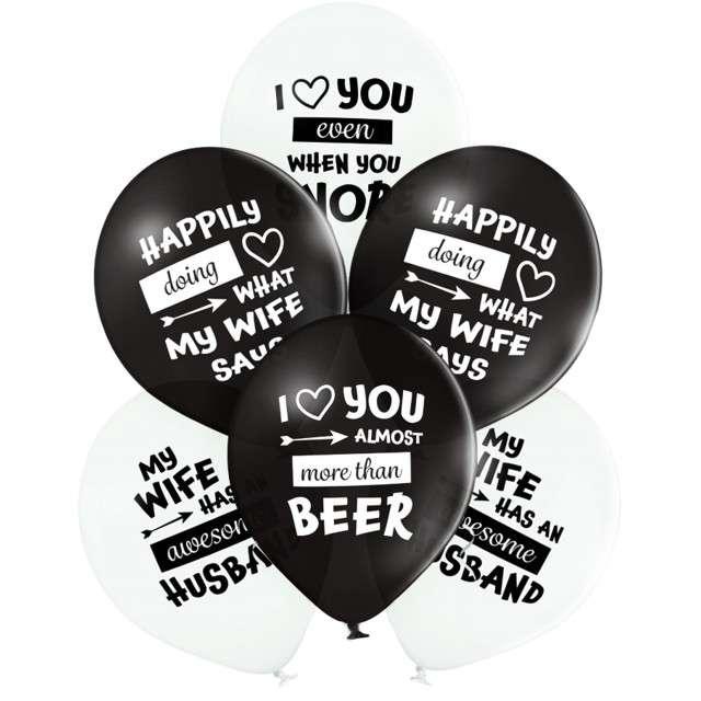 """Balony """"Best Wife Ever"""", biało-czarne, Belbal, 12"""", 6 szt"""