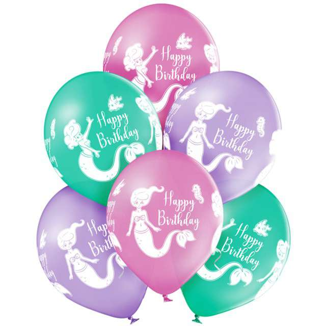 "Balony ""Happy Birthday - Syrenka"", mix, Belbal, 12"", 6 szt"