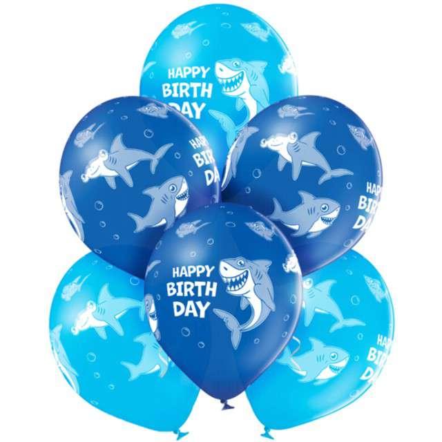 """Balony """"Happy Birthday - rekin"""", niebieskie, Belbal, 12"""", 6 szt"""