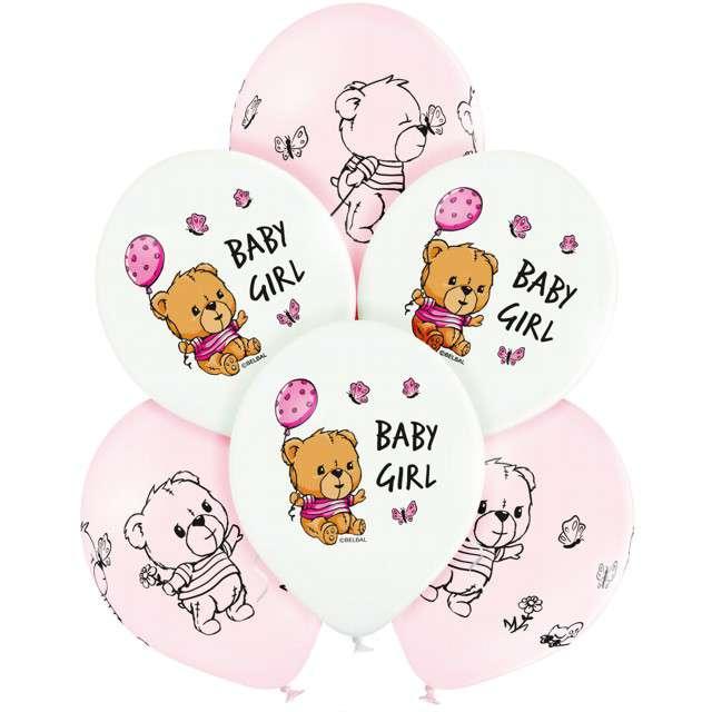 "Balony ""Cute Baby Girl"", mix, Belbal, 12"", 6 szt"