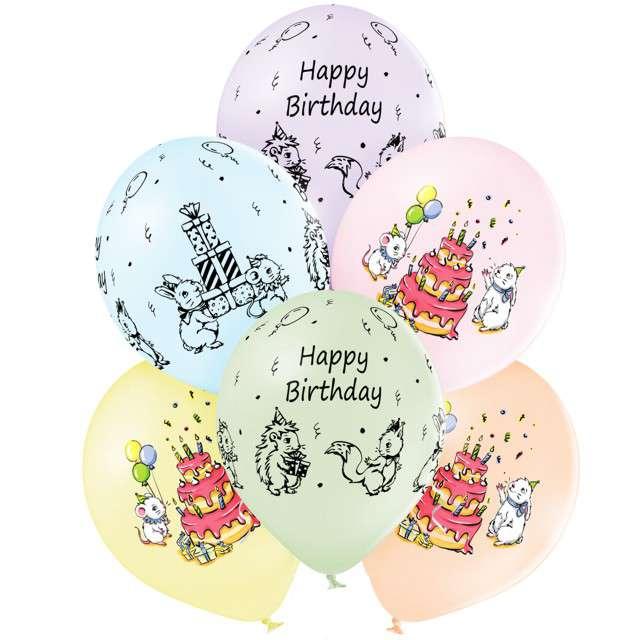 """Balony """"Cute Birthday"""", mix, Belbal, 12"""", 6 szt"""