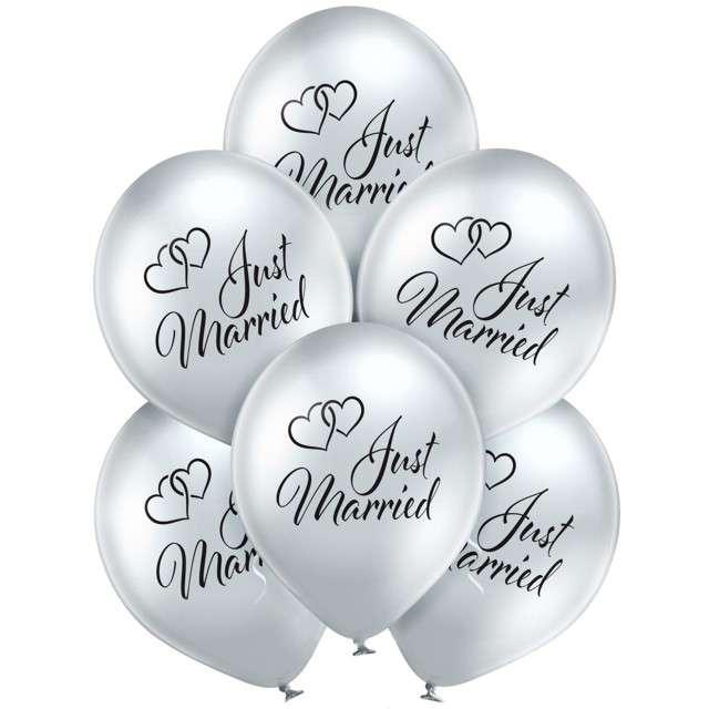 "Balony ""Just Married"", srebrne, Belbal, 12"", 6 szt"