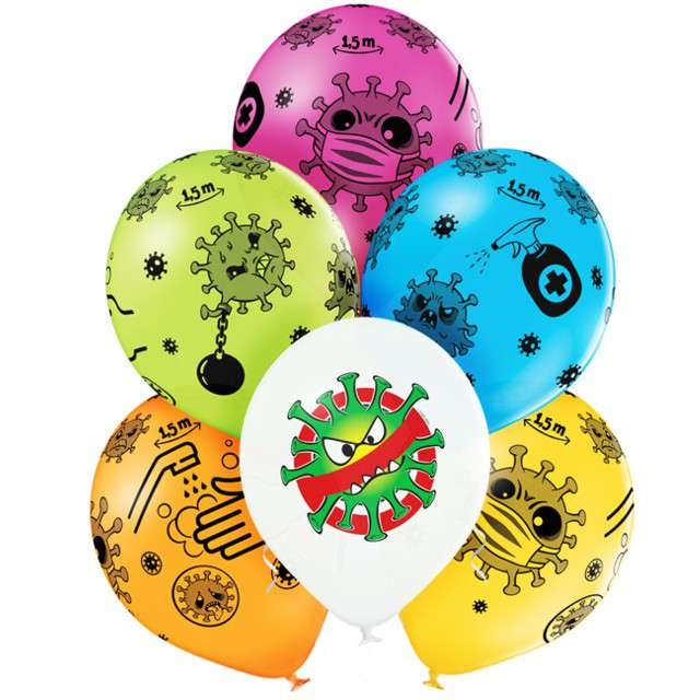 "Balon ""Impreza z wirusem"", mix, BELBAL, 12"", 6 szt"