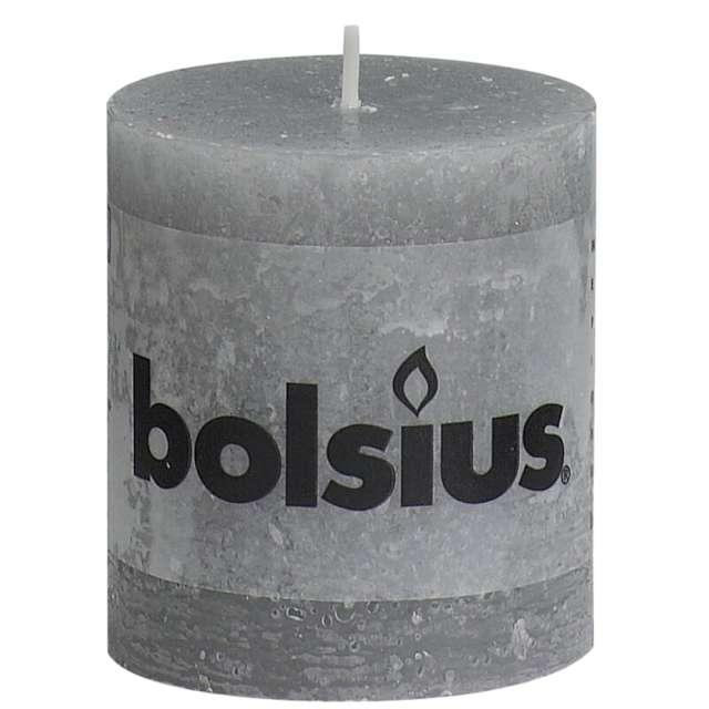 "Świeca pieńkowa ""Rustic"", szara jasna, Bolsius, 80/68 mm"