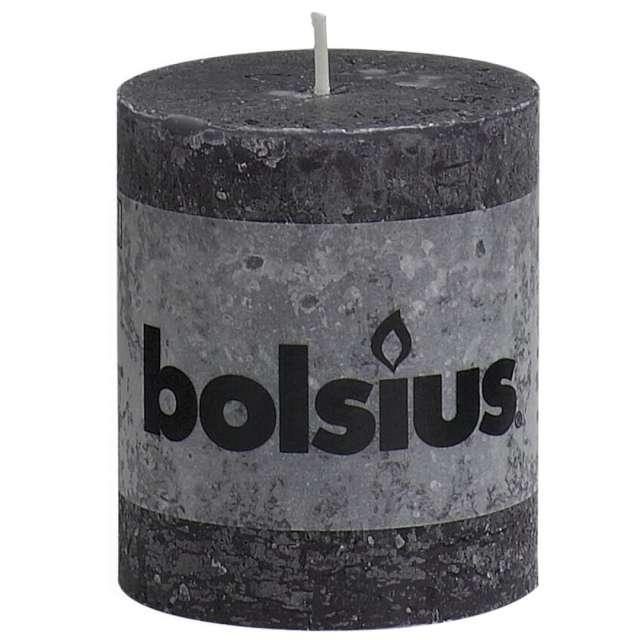 """Świeca pieńkowa """"Rustic"""", antracytowa, Bolsius, 80/68 mm"""