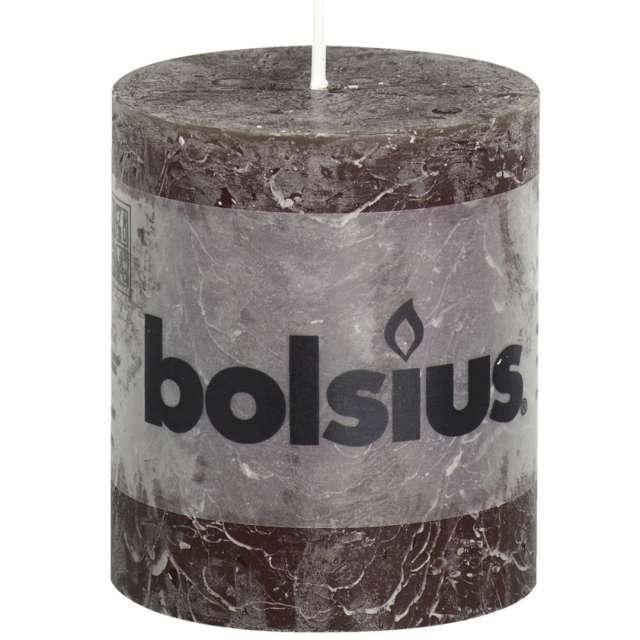 """Świeca pieńkowa """"Rustic"""", brązowa, Bolsius, 80/68 mm"""