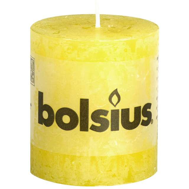 "Świeca pieńkowa ""Rustic"", żółta słoneczna, Bolsius, 80/68 mm"