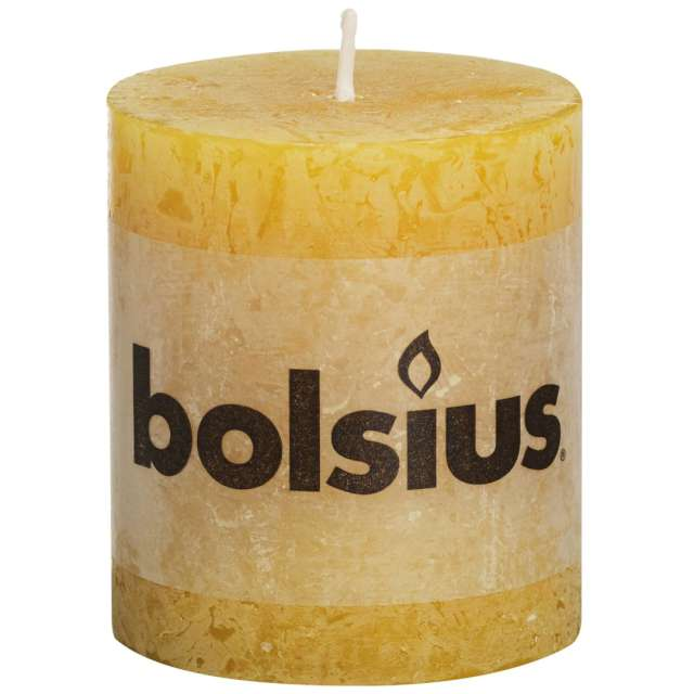 "Świeca pieńkowa ""Rustic"", żółta, Bolsius, 80/68 mm"