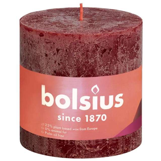 """Świeca pieńkowa """"Rustic"""", czerwony aksamitny, Bolsius, 100/100 mm"""